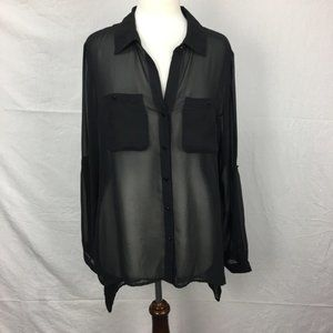 Kenneth Cole Black Chiffon Button Down LS Blouse